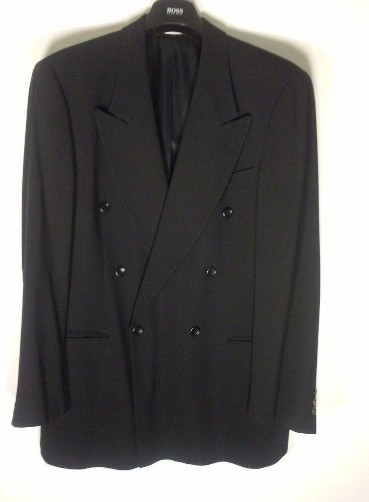 HUGO BOSS Saks Fifth Solid Black 100% Wool Men's Double Breasted Blazer 40R  #HUGOBOSS #DoubleBreasted