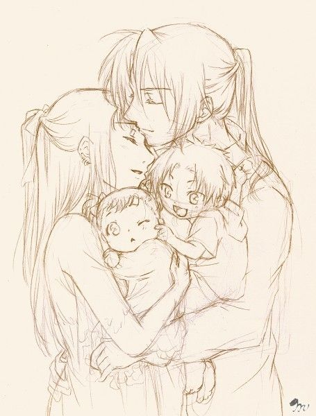 ✮ ANIME ART ✮ anime family. . .family love. . .hug. . .sweet. . .pencil drawing. . .graphite. . .cute. . .kawaii