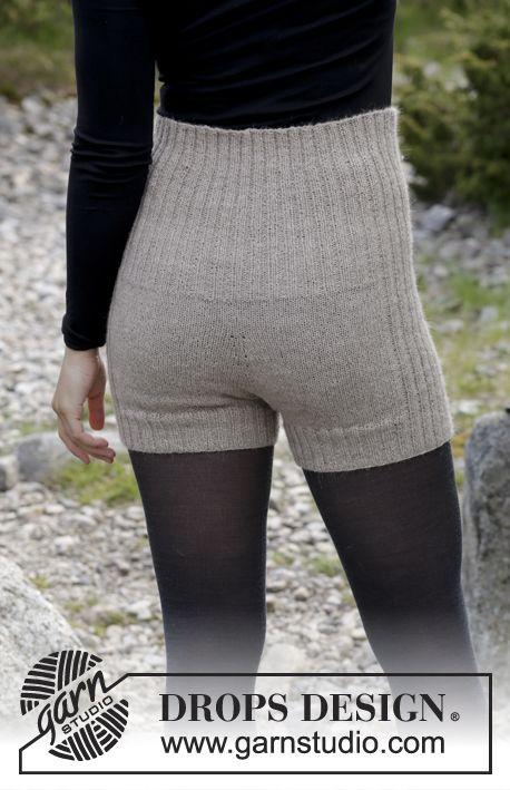 Why Not / DROPS 182-13 - Shorts med vrangbord, strikket ovenfra og ned. Størrelse S - XXXL. Arbeidet strikkes i DROPS Flora