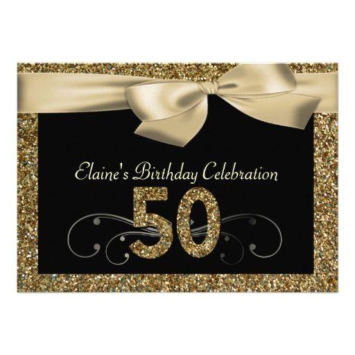 50th birthday invitations for women   Black Gold Bow 50th Woman's Birthday Invitation