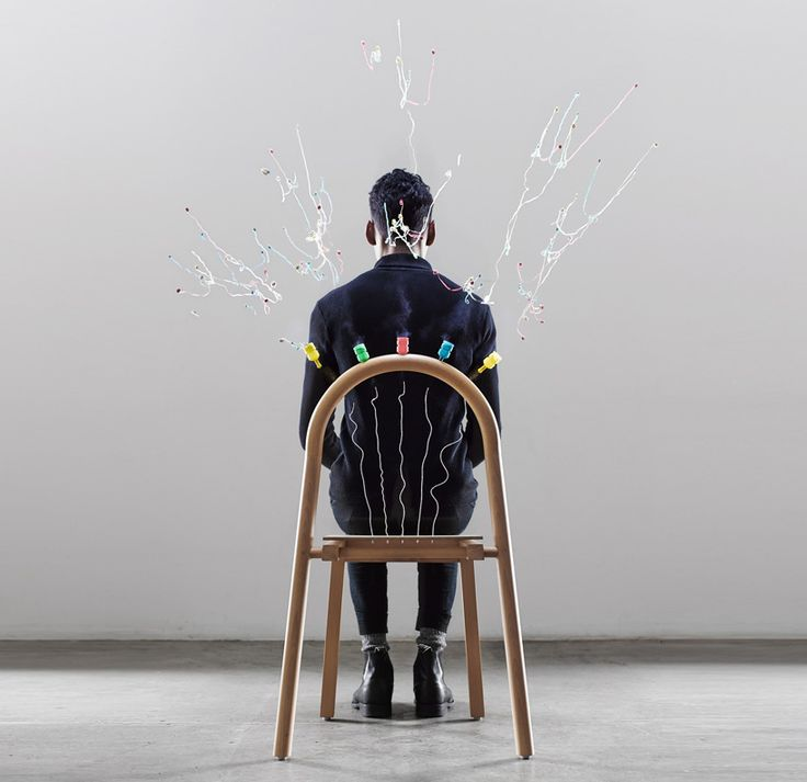 mathery studio's josie chair explodes colorful streamers upon sitting
