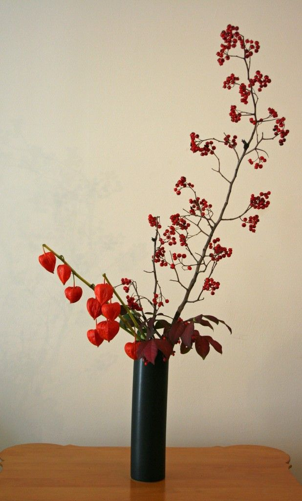 This week I am actually away on a vacation, trying to unwind and to also get re-energized. It's also a bit of a challenge for this project since I am doing arrangements while I am away. So far, so good as there are interesting materials growing and they are seasonal too. These gorgeous hawthorne berries were a delight to use…