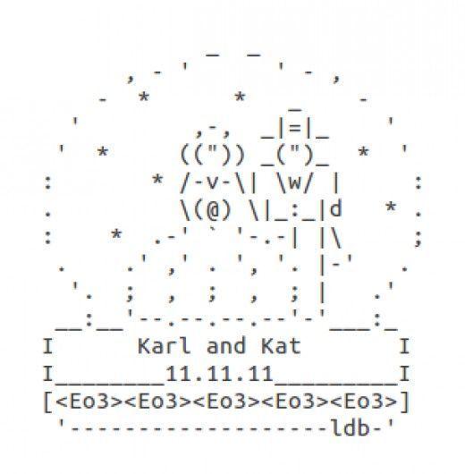 Wedding Rings, Cake, Bride and Groom: Wedding ASCII Art