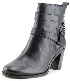 Lauren Ralph Lauren Cassy Women Round Toe Leather Black Ankle Boot.