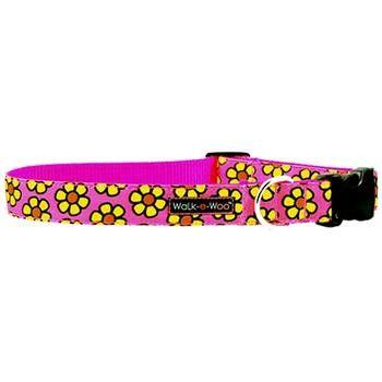 WaLk-e-Woo Yellow Daisies on Pink Dog Collar