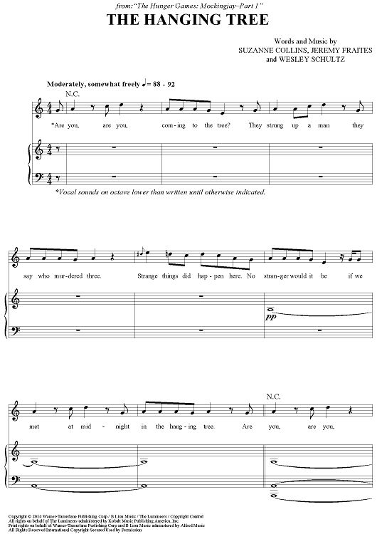 """""""The Hanging Tree"""" Sheet Music from 'The Hunger Games: Mockingjay-Part 1' www.onlinesheetmusic.com"""