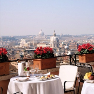 Gorgeous view from the restaurant at the Hotel Hassler, Rome.
