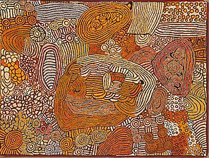 Walangkura (Jackson) Napanangka, 'Untitled', 2009, synthetic polymer paint on canvas, National Gallery of Australia, Canberra, acquired in acknowledgement of the National Apology to the Stolen Generations with support from The Myer Foundation, 2010
