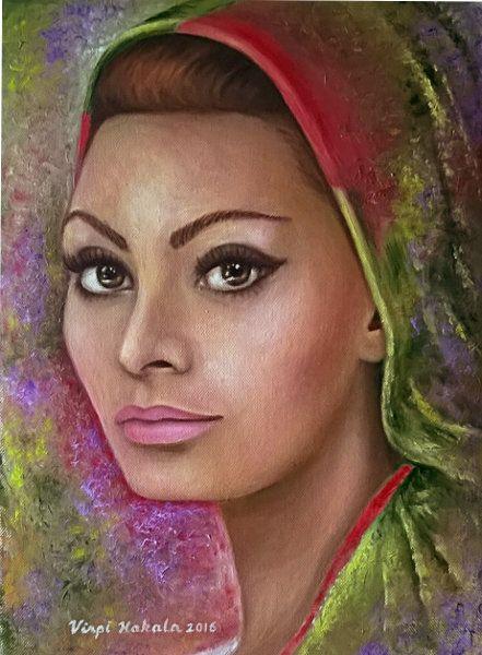 Sophia Loren. Öljy kankaalle 30 x 40 cm.