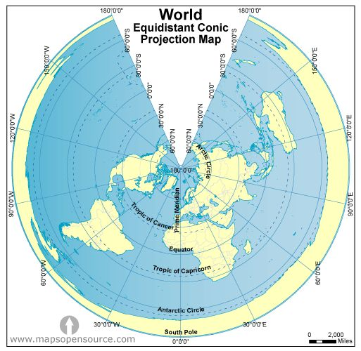 World Equidistant Conic Projection Map Gif 513 215 500