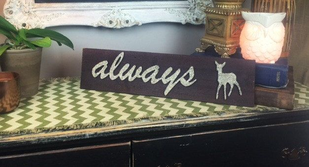 Always Severus Snape Sign With Doe Patronus in Silver German Glass Glitter, Harry Potter, Half-Blood Prince, Professor Snape, Slytherin by BrookielynnsBungalow on Etsy https://www.etsy.com/listing/264059060/always-severus-snape-sign-with-doe