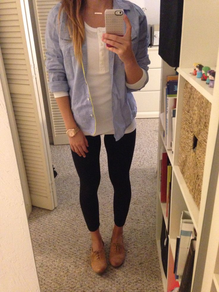Travel outfit - GAP long-sleeve white T, Express denim blouse, ForeverXXI black jeggings, Naturalizer tan oxford shoes