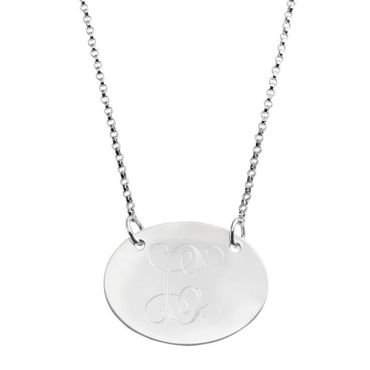 """Sweet Sentiments Sterling Silver Initial Necklace, Women's, Size: 18"""", Grey"""