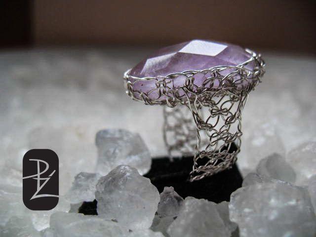Silver Thread Amethyst Ring* Handcraft Design Jewelry*