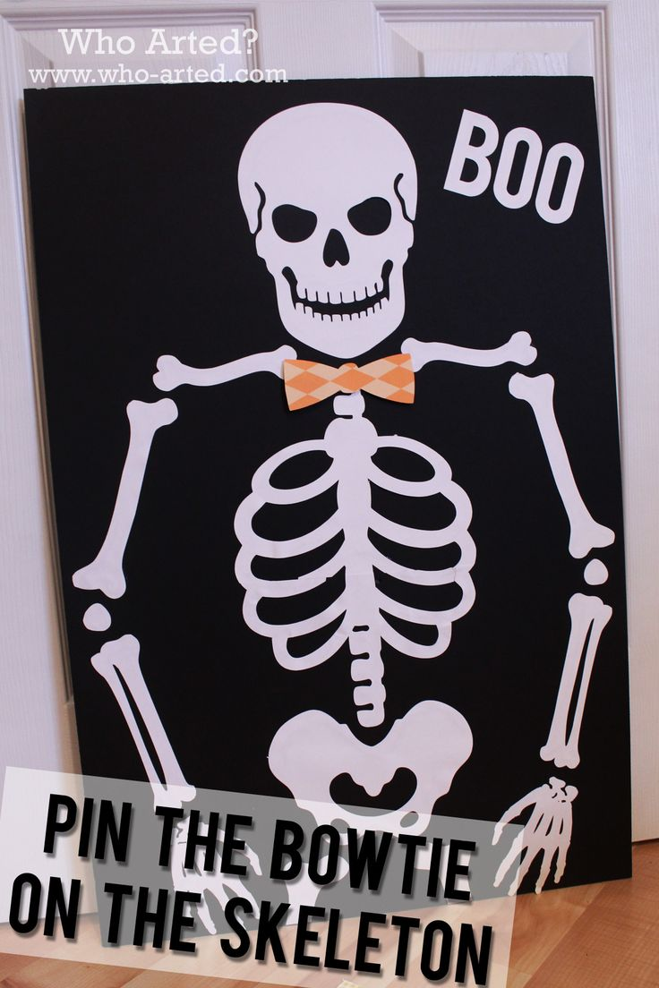 Halloween Games for Kids:  Pin the Bowtie on the Skeleton! A fun, non-scary Halloween game for little ones!