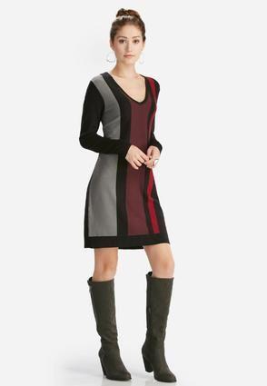 Cato Fashions Colorblock Sweater Dress #CatoFashions