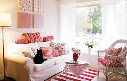 Bildresultat för lantligt vardagsrum rött