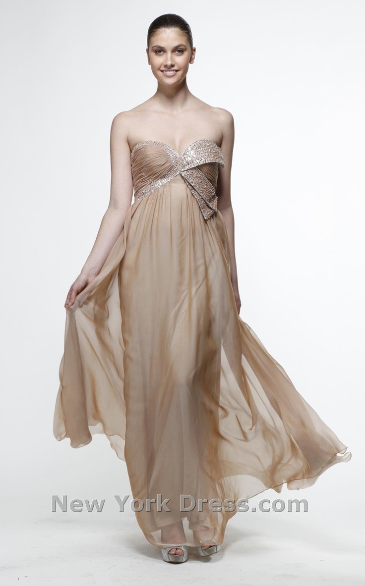 56 best neutralgold bridesmaids dresses images on pinterest look lovely for your next event wearing this evening gown by issue ny this dress is strapless with an ornate ruffled detail at the bust enhanced with ombrellifo Choice Image