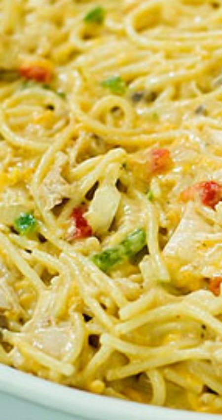 "Chicken Spaghetti ~ This really is one of the all-time greatest ""make before"" comfort foods... A Pioneer Woman Recipe"