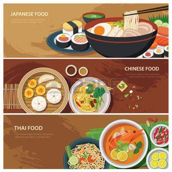 thai noodles: asia street food web banner , thai food , japanese food , chinese food flat design