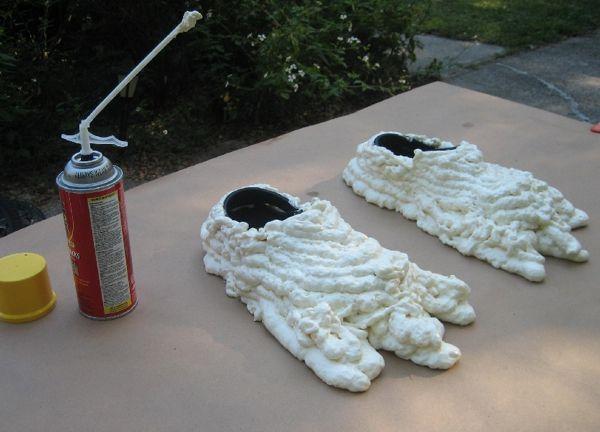 Expanding foam over old Crocks