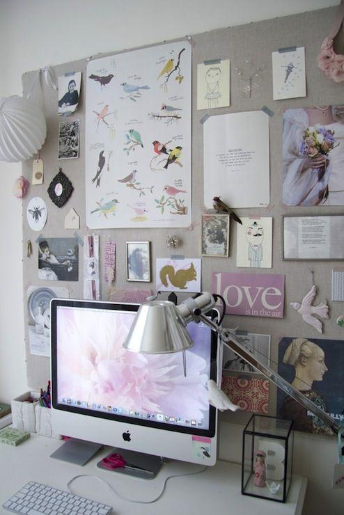 irideeen - dens/libraries/offices - linen pin boards, chic office, desk accessories, desk pin board,  Pretty desk area with linen pin board.