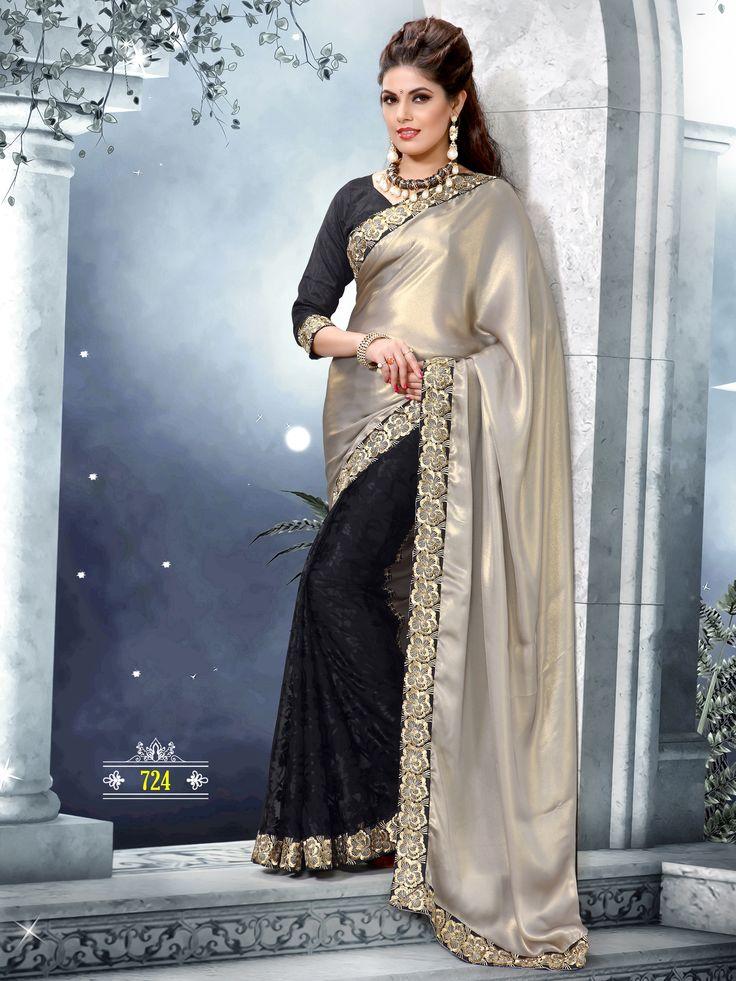 grey satin and black brasso saree