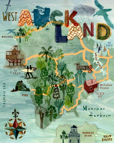 Illustration - Lisa Baudry  West Auckland Print Waitakere Ranges  New Zealand