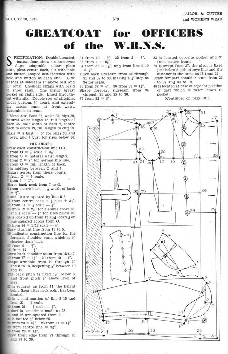 August 1942 Greatcoat for Officers of the W.R.N.S. draft | cutterandtailor.com