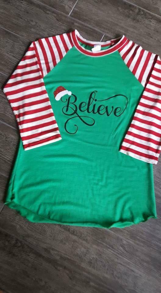 Believe Santa Hat Christmas Shirt, Elf shirt, Christmas Clothing, Red/Green Raglan, Believe In Santa by SonShineGirlStudio on Etsy