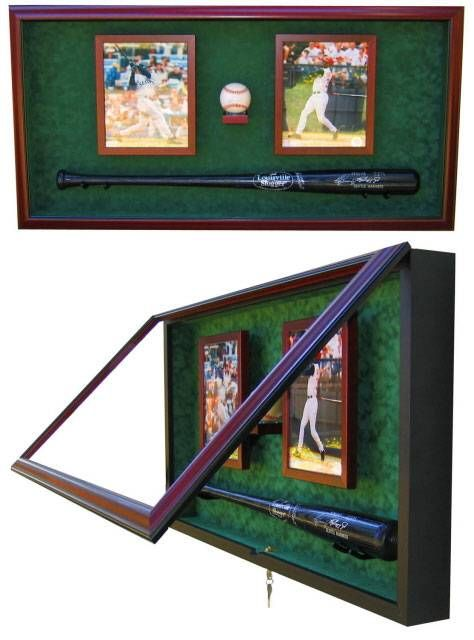 Display Cases - Baseball Bat - Ball and Photos...A display case that houses that special bat, ball and two photos of the game or favorite player.
