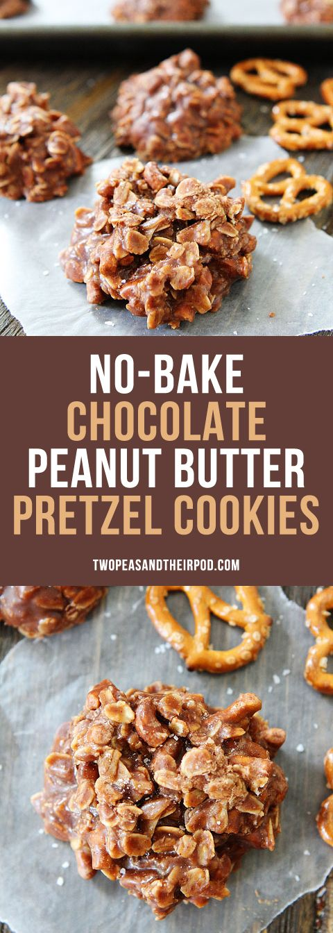 No-Bake Chocolate Peanut Butter Pretzel Cookies! Everyone LOVES these cookies. They only take minutes to make and you don't have to turn on the oven. The pretzels are a nice surprise to the classic no bake recipe!