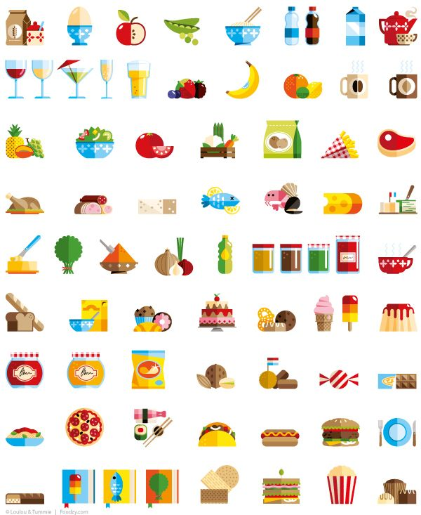 Foodzy Icons / Loulou and Tummie #grafica #icone #cucina #illustrazione
