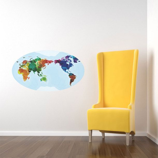 World Of Color Wall Map Decal