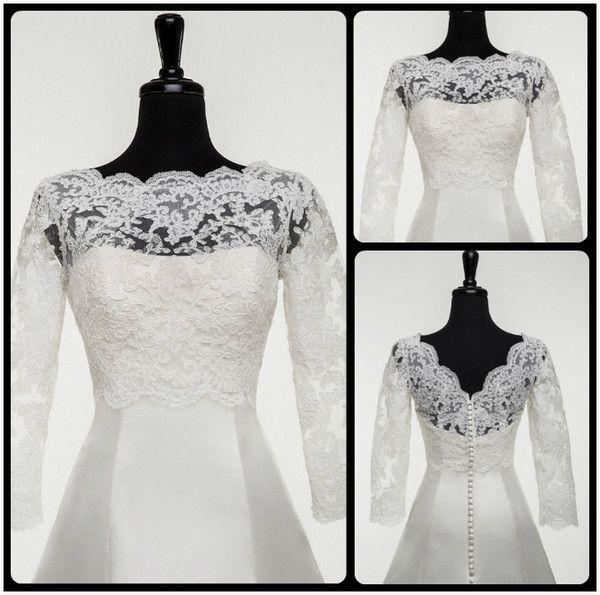 2016 Justin Alexander Lace Bridal Bolero Jackets Scalloped Neckline Illusion Long Sleeves V Back Short Wedding Dresses Jacket for Bride