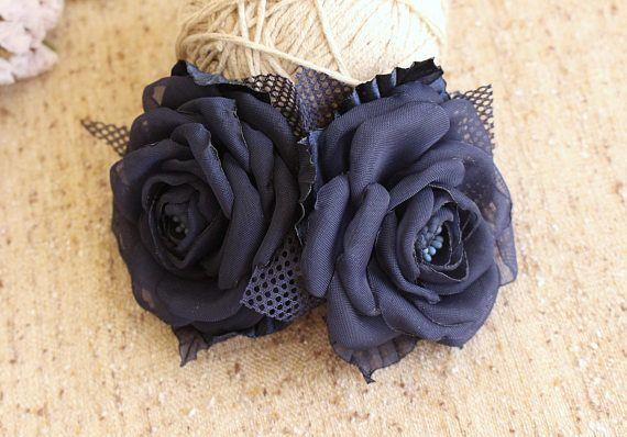 Navy Blue Hair Comb,dark blue rose Hair Comb,Flower Fascinator,Girl Woman Flower Hair Comb,Wedding Hairpiece,bridesmaid Flower hair comb