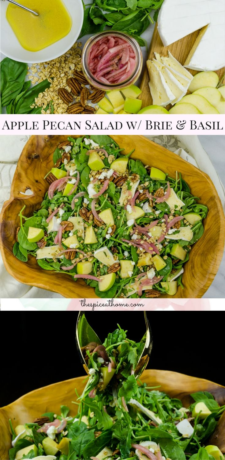 Apples, pecans, picked onions, spinach, brie, basil and goat cheese topped with a honey mustard vinaigrette