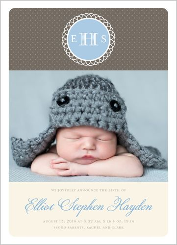 Joyful Monogram Boy Birth Announcement, Shutterfly
