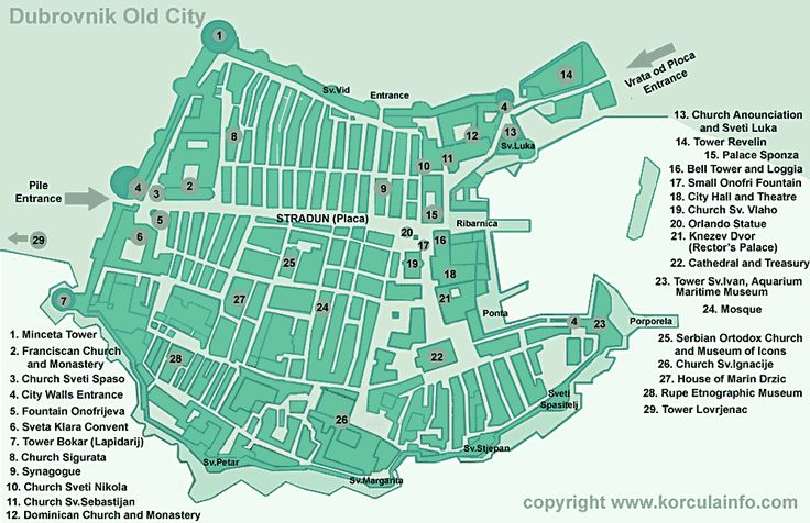 Dubrovnik Old City / Old Town Map