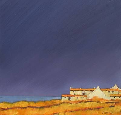 John Piper artist, paintings and art at the Red Rag British Art Gallery - composition of houses at bottom of image.