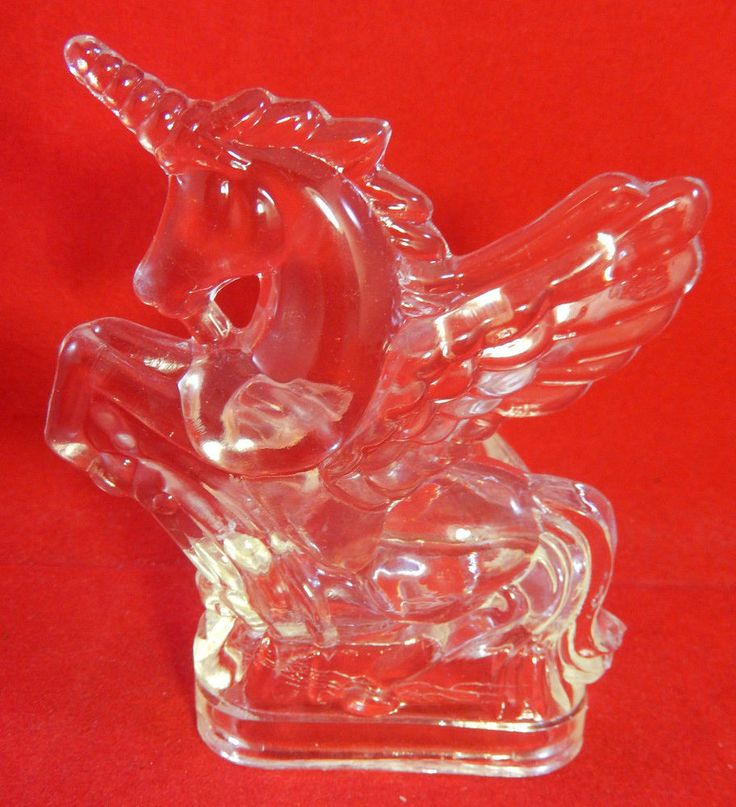 """Vintage Lead Crystal or Glass Unicorn Figural Small Candle Holder 4 1/2"""" Tall"""