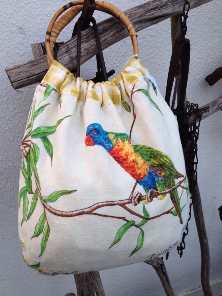 Handmade souvenir teatowel carry bag, bamboo handles