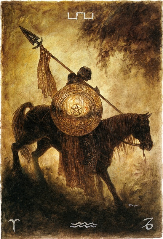 Contentimus emilsinclaire:  Luis Royo - Minor Arcana: Pentacles - Knight of Pentacles (off 'The Labyrinth Tarot')