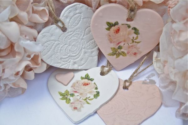 DIY: Clay Heart Tags Tutorial...so easy to make. Great for Valentine's but would also be great as gift tags. Love how she embellished them, so shabby!