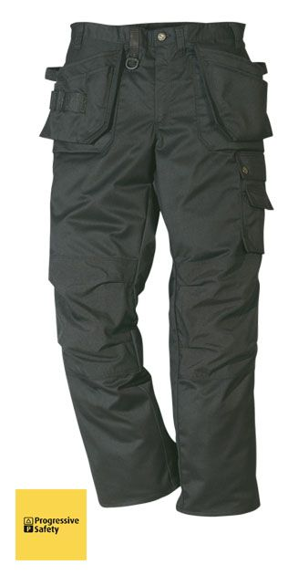 PROSTRETCH TROUSER BLACK REG - Multi-pocketed tradesman's trousers, two loose outside pockets, reinforced with Cordura, one with external patch pocket and one with three smaller pockets and tool loops, two front patch pockets, two back pockets with gussets. - www.psf.co.uk