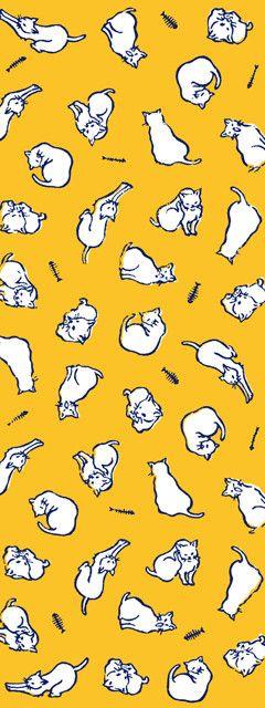 かまわぬ : 手ぬぐい 猫三昧
