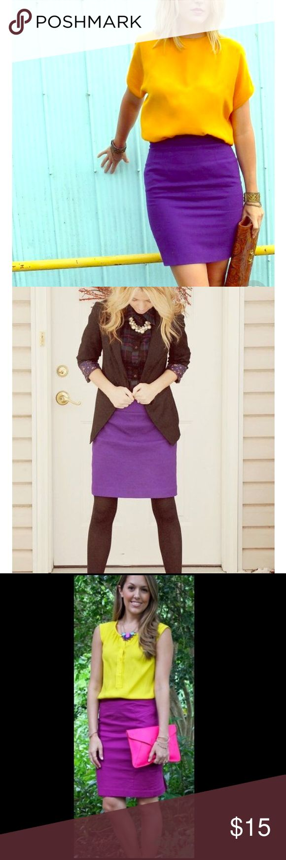 Purple pencil skirt SZ 4 Worthington brand. Very flattering fit and gorgeous color that stands out through all seasons! I'm in love with this skirt, it just doesn't fit! Excellent condition. Worthington Skirts Pencil
