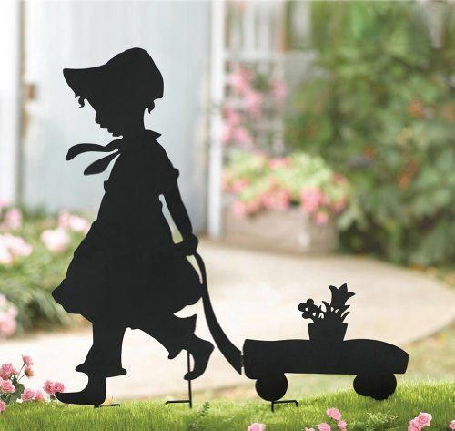 """Girl And Wagon Lawn Statue Shadow Stake By Collections Etc by Collections. Save 17 Off!. $9.99. Stakes easily and securely into the ground. Black finished metal shadow sculpture. Lawn silhouette of a little girl pulling a pot of flowers in her wagon. Measures 29 1/4""""L x 32""""H. Shadow Girl and Wagon: Celebrate the joys of summertime with a nod to nostalgic carefree summer days of long, long ago. This charming lawn silhouette of a little girl of yesteryear, bringing a pot full of flowers…"""