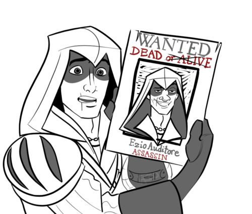 """""""They just can't get my nose right!"""" The funny thing is; Ezio & Flynn look quite similar."""