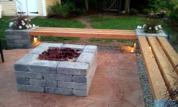 Hull Patio, Pergola, Propane fire pit, custom benches, pillar planters, lighting modern-landscape